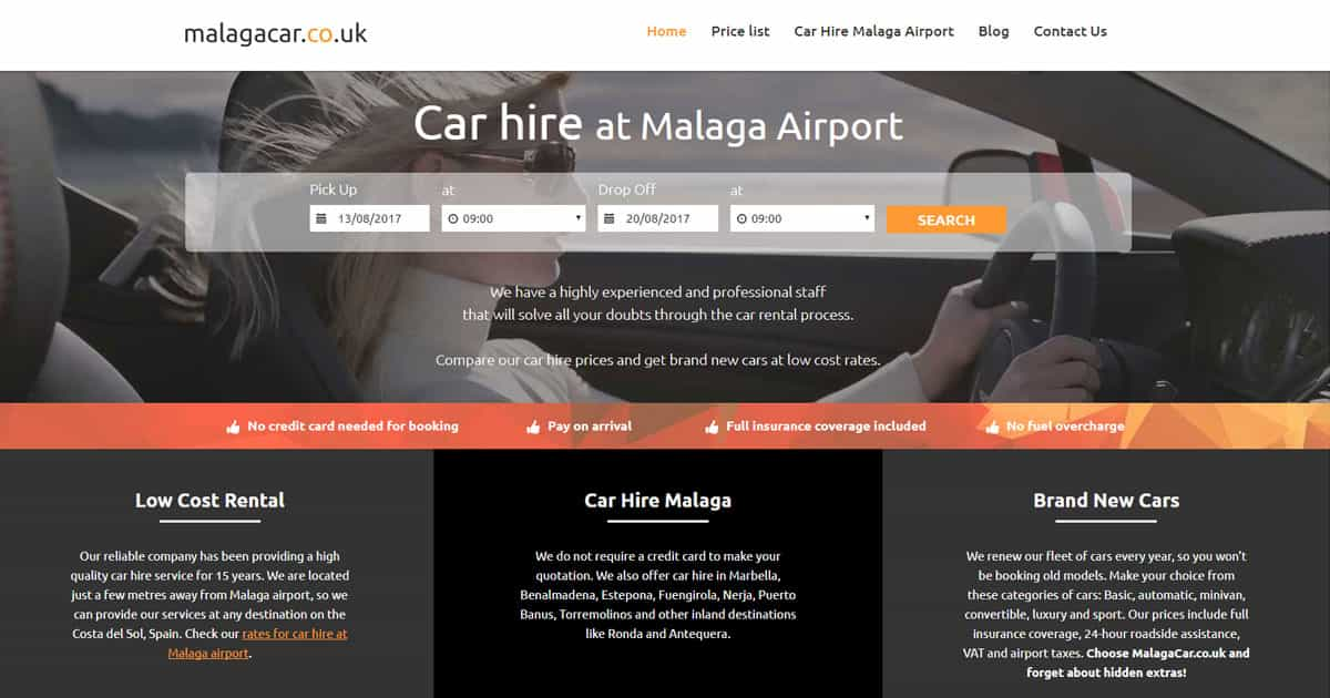 Malaga Car Hire Spain Malagacar Co Uk Car Rental